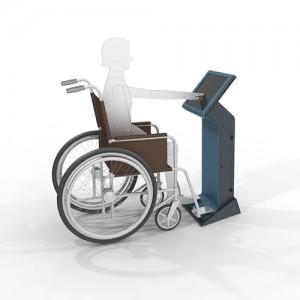 Wheelchair and kiosk