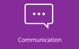 Communication icon on purple background