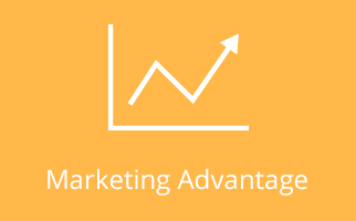 Marketing Advantage icon on yellow background