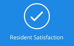 Resident Satisfaction icon on blue background