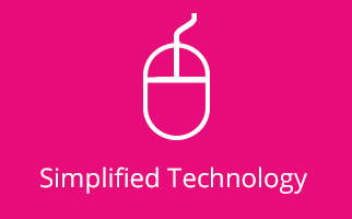 Simplified Technology Icon on Pink background