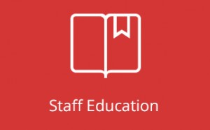 Staff Education icon on red background