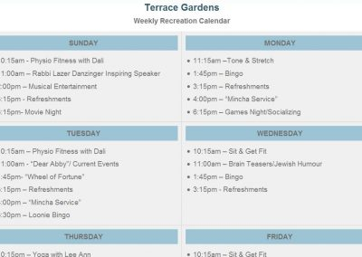Residence Recreation Calendar
