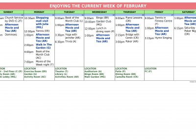 InTouchLink Assisted Living Weekly Activity Calendar Template