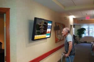 Broadcasting important information on community TV in senior assisted living