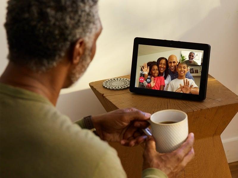 senior video calling family