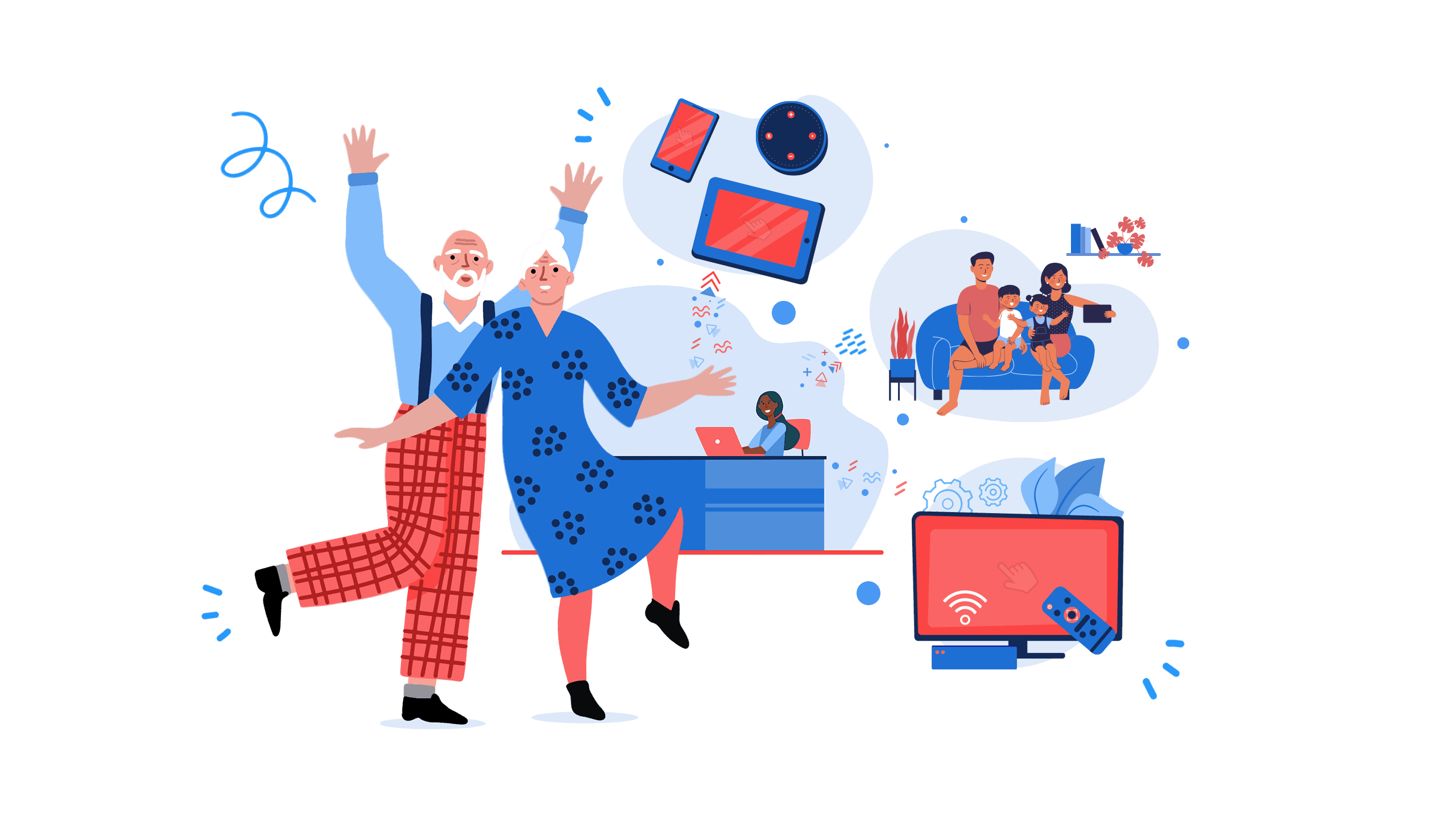 Illustration of InTouchLink's cloud based system that connects from admin to family, residents, and the community.
