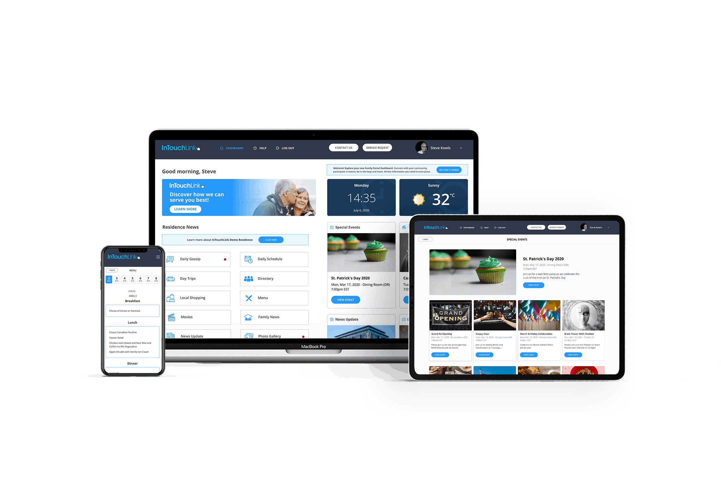 InTouchLink Community Family and Resident Portal on several devices